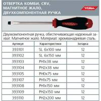 393101 Отвертка VIRA КОМБИ шлицевая 6*100 мм магнитное жало