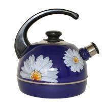 Чайник 3,5 л.(конс.ручка)-синий/ромашки (декор-  нерж.сталь) Т04/35/05/14