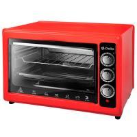 Эл. духовка DELTA с термостатом D-0123 красная, 1300Вт., 37 литров, 2 нагрев.элемента, 1 противень