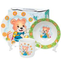 Ф Набор детский 3пр Веселый мишка (тарелка 17,5см, салатник 15см, кружка 230мл) под/уп C592# DANIKS