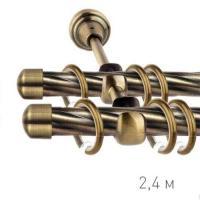 Карниз кованый Ле-Гранд d16 мм Твист 2,4м антик-золото