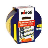 Клейкая лента разметочная 50мм х 50м желто-черная UNIBOB ИУ (24) арт.48905