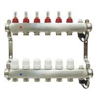 Коллекторная группа ONDO нерж сталь 6 вых. в сборе с расходомерами и термостатическими клапанами