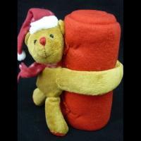 """Плед флис """"Новогодний"""" мишка красный"""